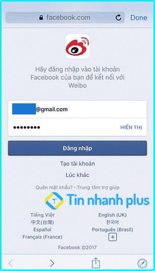 hướng dẫn đăng ký tài khoản weibo bằng facebook
