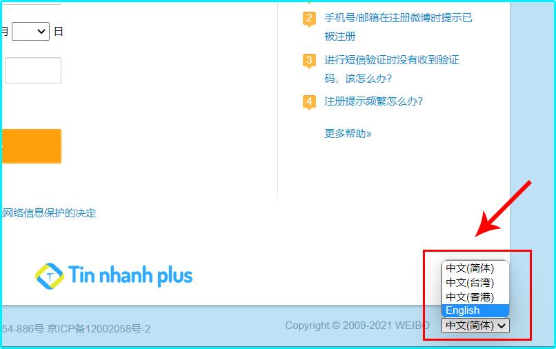 hướng dẫn cách đăng ký tài khoản weibo bằng gmail