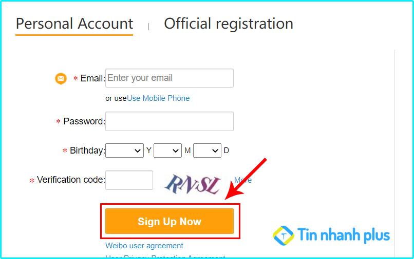 cách đăng ký thành công tài khoản weibo bằng gmail