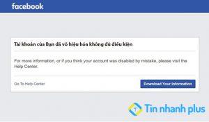 tài khoản Facebook đã vô hiệu hóa không đủ điều kiện