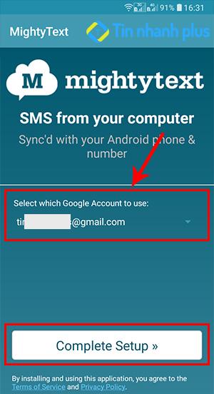 theo dõi tin nhắn trên điện thoại android bằng phân mềm Mightytext