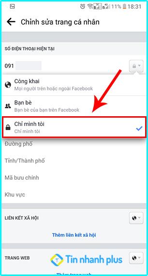 hướng dẫn cách ẩn số điện thoại facebook bằng điện thoại